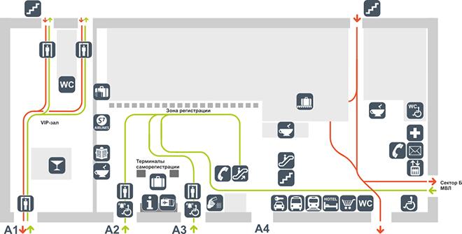 Схема терминала аэропорта Толмачёво сектор А (1 этаж)