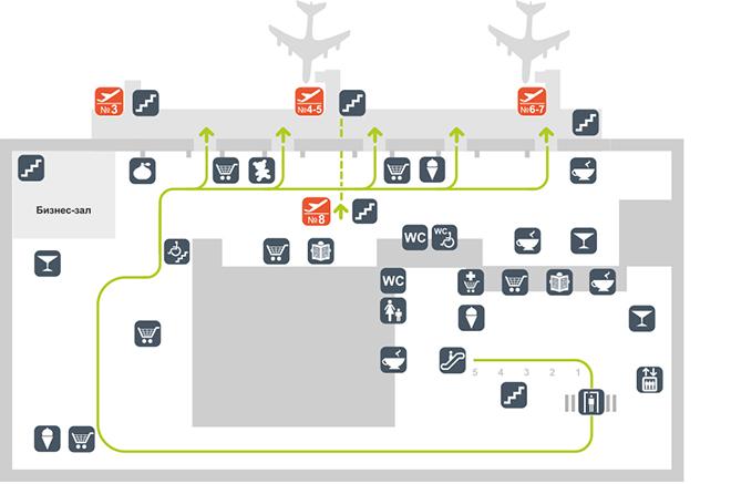 Схема терминала аэропорта Толмачёво сектор А (2 этаж)