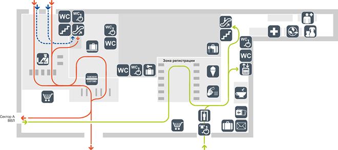 Схема терминала аэропорта Толмачёво сектор Б (1 этаж)