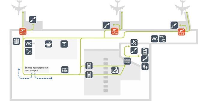 Схема терминала аэропорта Толмачёво сектор Б (3 этаж)